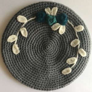 Crocheted Gray Beret Hat